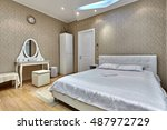 bedroom with a beautiful...   Shutterstock . vector #487972729