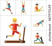 sportsman icons set | Shutterstock .eps vector #487975159