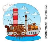 steamboat. vintage water... | Shutterstock .eps vector #487981861