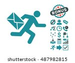 mail courier icon with bonus... | Shutterstock .eps vector #487982815