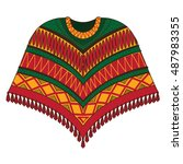 poncho. traditional latin... | Shutterstock .eps vector #487983355