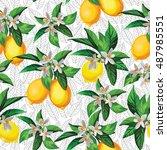 lemon seamless pattern on white ... | Shutterstock .eps vector #487985551