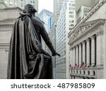 wall street with new york... | Shutterstock . vector #487985809