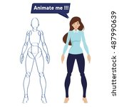 girl character is ready for... | Shutterstock .eps vector #487990639