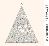 christmas geometric tree... | Shutterstock .eps vector #487991197