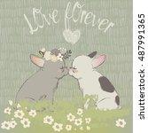 two cute cartoon bulldogs in... | Shutterstock .eps vector #487991365