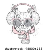 Stock vector cute puppy in earmuffs and a scarf vector illustration for a card or poster print on clothes 488006185