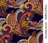paisley seamless pattern.... | Shutterstock . vector #488013961