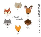 cute forest animals | Shutterstock .eps vector #488019349