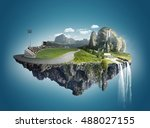 magic island with floating... | Shutterstock . vector #488027155
