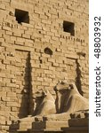 """The ancient """"Sphinx-Alley"""" at the temple """"Karnak"""" in """"Luxor"""" in Egypt - stock photo"""