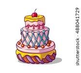 birthday cake  | Shutterstock .eps vector #488041729