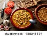 potaje de garbanzos chickpea... | Shutterstock . vector #488045539