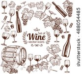 background with wine icons.... | Shutterstock .eps vector #488054485