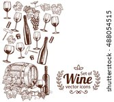 side vertical border with wine... | Shutterstock .eps vector #488054515