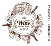 circle shape template with wine ... | Shutterstock .eps vector #488054521