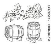 grape branches and wine barrels.... | Shutterstock .eps vector #488057569