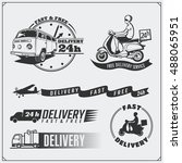 delivery service labels ... | Shutterstock .eps vector #488065951
