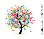 colorful art tree for your... | Shutterstock .eps vector #488072167