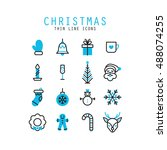 christmas thin line icons... | Shutterstock .eps vector #488074255
