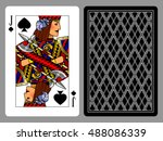 jack of spades playing card and ... | Shutterstock .eps vector #488086339