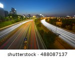 light trails from vehicles on... | Shutterstock . vector #488087137