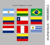 set of flags from south america ...