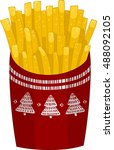 christmas french fries | Shutterstock . vector #488092105