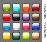 set of glossy button icons for... | Shutterstock .eps vector #488092504