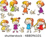 vector drawing girl with cat set | Shutterstock .eps vector #488096101