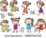vector drawing girl with cat set | Shutterstock .eps vector #488096104