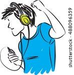 man listening music with... | Shutterstock .eps vector #488096359