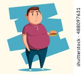 fat man with burger. cartoon... | Shutterstock .eps vector #488097631