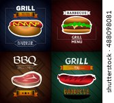 set of different fast foods on... | Shutterstock .eps vector #488098081