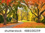 Autumn Scenery In A Park With...