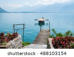 a row boat on lake geneva in... | Shutterstock . vector #488103154