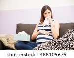 pretty young pregnant woman...   Shutterstock . vector #488109679