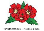 red poppies on a white... | Shutterstock .eps vector #488111431