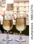 Small photo of two glasses of french white wine, Riesling d'Alsace