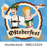 bavarian couple in traditional... | Shutterstock .eps vector #488114224