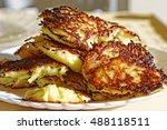 homemade potato pancakes.... | Shutterstock . vector #488118511