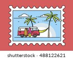 postage stamp with a picture of ... | Shutterstock .eps vector #488122621