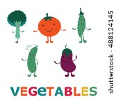 adorable vegetable cartoon... | Shutterstock .eps vector #488124145