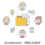 infographics with a folder with ... | Shutterstock .eps vector #488132869
