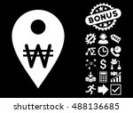 korean won map marker icon with ... | Shutterstock .eps vector #488136685