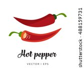 red hot spicy chili pepper and... | Shutterstock .eps vector #488159731