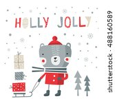 greeting card  holly jolly.... | Shutterstock .eps vector #488160589