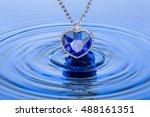 sapphire pendant. heart of the... | Shutterstock . vector #488161351