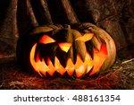 pumpkin. halloween jack o'... | Shutterstock . vector #488161354