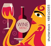 abstract wine poster  wine... | Shutterstock .eps vector #488163355